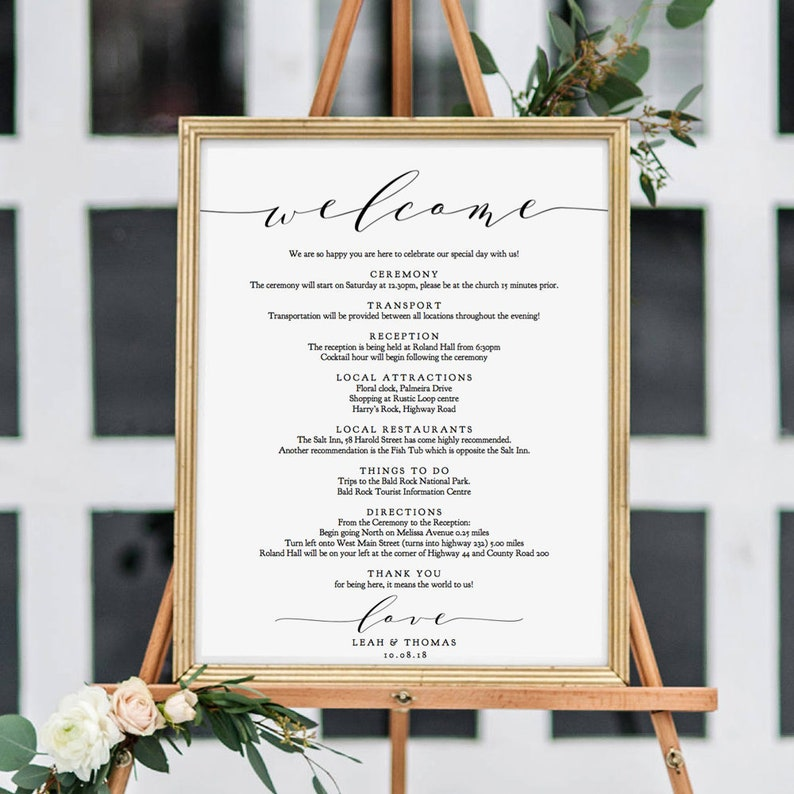 Welcome Itinerary Sign Order of the Day Printable Wedding image 0
