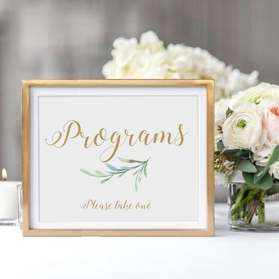 "Wedding Programs Sign Printable Programs Sign Please take one ""Greenery"" Printable wedding signs & signage, 8x10"" Download and Print - PDF"