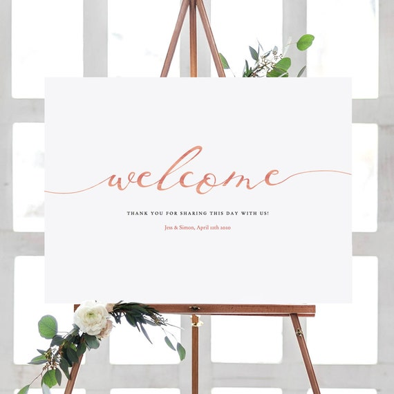LucyRose - Rose Gold Welcome Sign, Printable Welcome Sign, DIY Wedding, Instant Download and Customise, Rose Gold EFFECT, Editable PDF