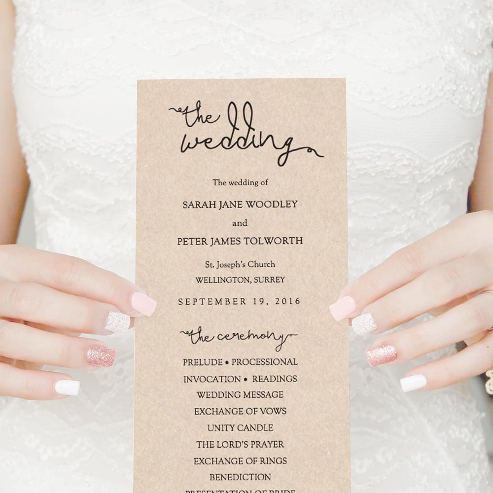 Kraft Wedding Programs, Rustic Programs, simply print this template ...