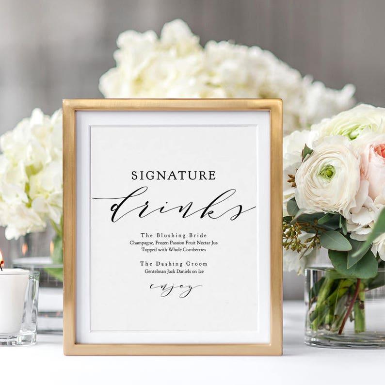 Signature Drinks Printable template Wedding Signature Drink image 0