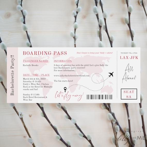 Bachelorette Party Boarding Pass Invitation, Printable Flight Ticket Invite, Easy to Edit & Print in Corjl Templates, FREE Demo