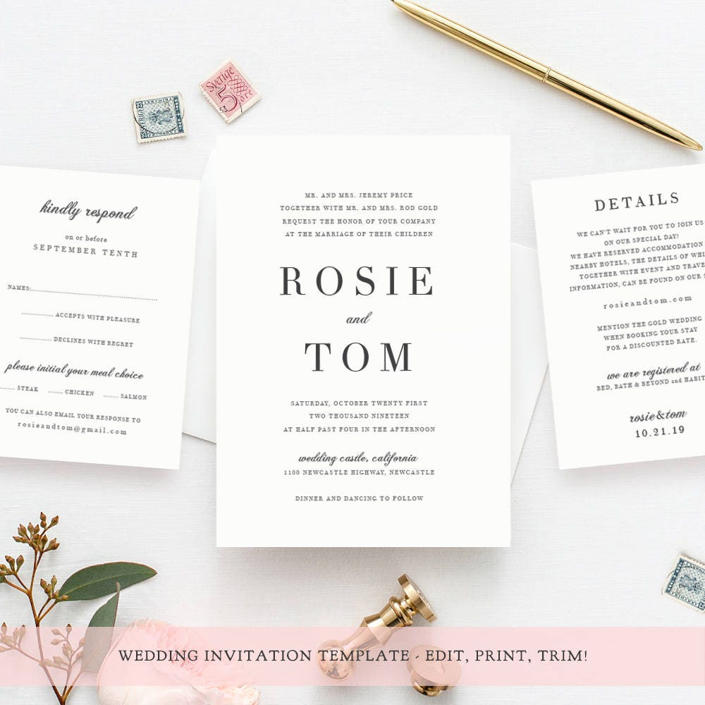 Wedding invitation template set, classic and elegant, wedding ...