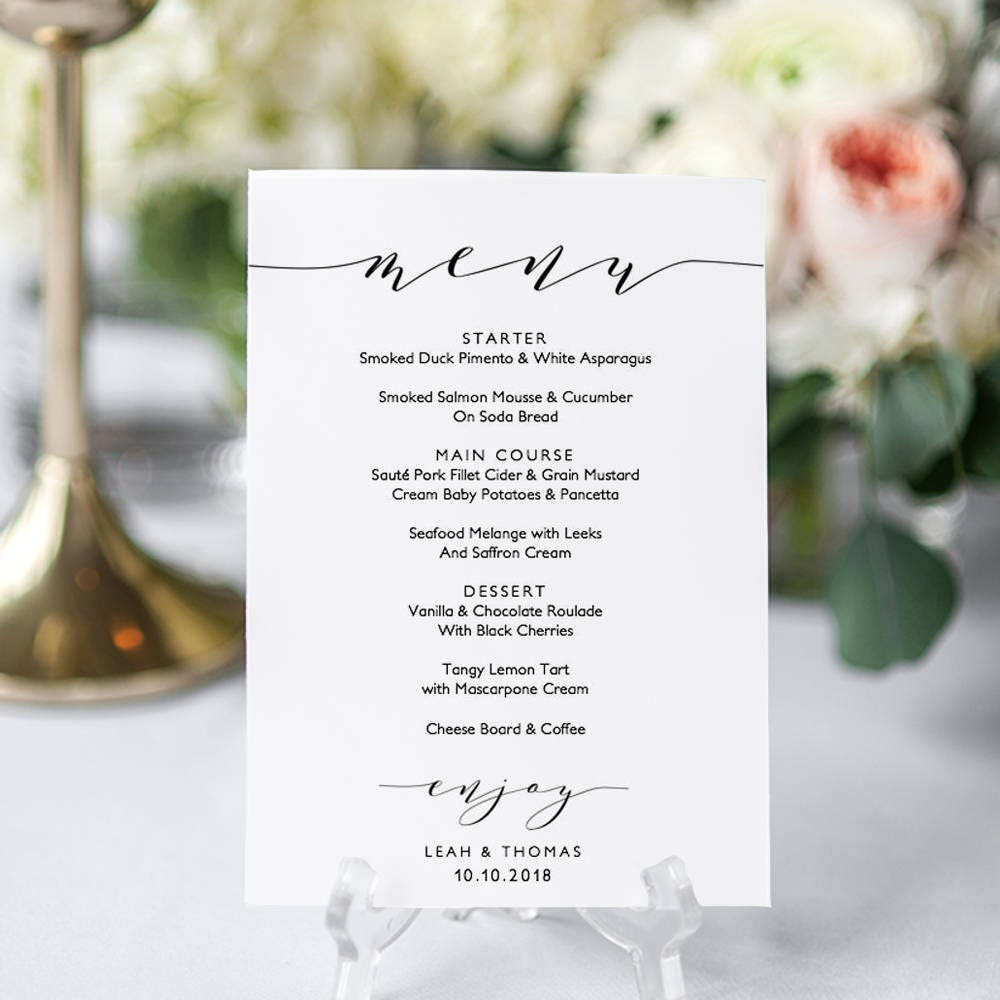 wedding menu template 5x7 4x9 and full page menu printable menu