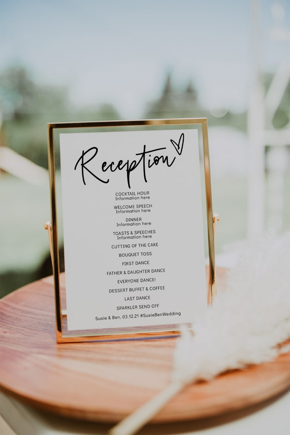 Reception Program 3 sizes, Printable DIY Wedding Reception Cards & Signs, 2 Versions, Corjl Template, FREE Demo | 88