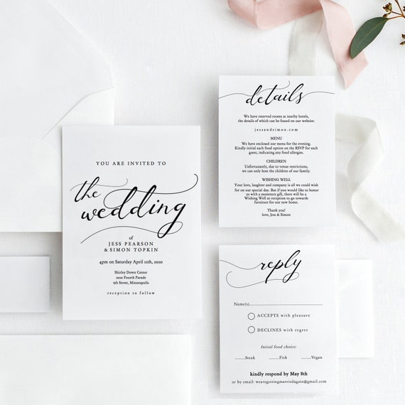 Lucy - Wedding Invitation Template Download, Printable Invitation Set, Printable Wedding Invitation Set, Corjl Template, FREE Demo