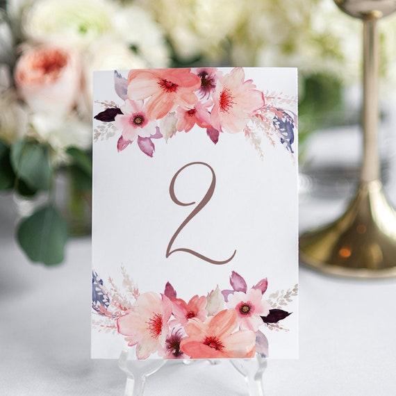 "Floral Table Number Card Printable Template, Watercolour Flower Printable Wedding Numbers, Corjl, FREE Demo, ""Angie"", in 4x6"" & 5x7"""
