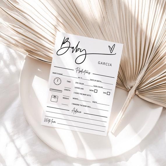 Baby Predictions and Advice Card, Printable Baby Shower Card, Predictions for Baby, Editable Baby Advice, Corjl Template, FREE Demo | 88