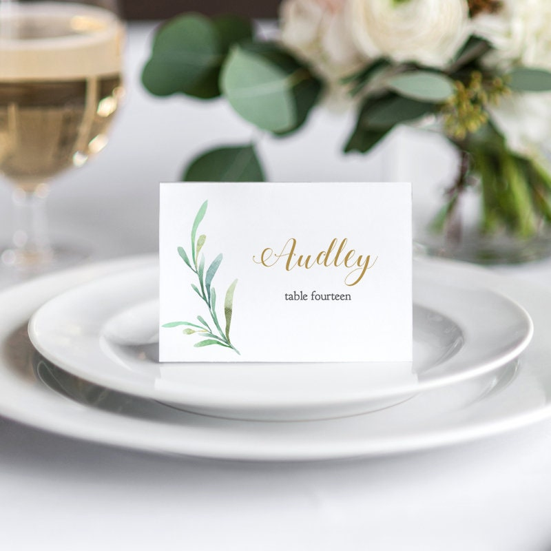 Greenery Wedding Table Place Card Template Flat and Folded Name