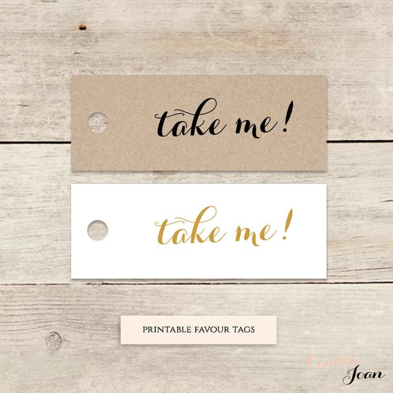 "Take me! 2x0.75"" mini printable favor tags, printable wedding label favour tags, Byron, 50 printable tags per sheet, Download and Print"