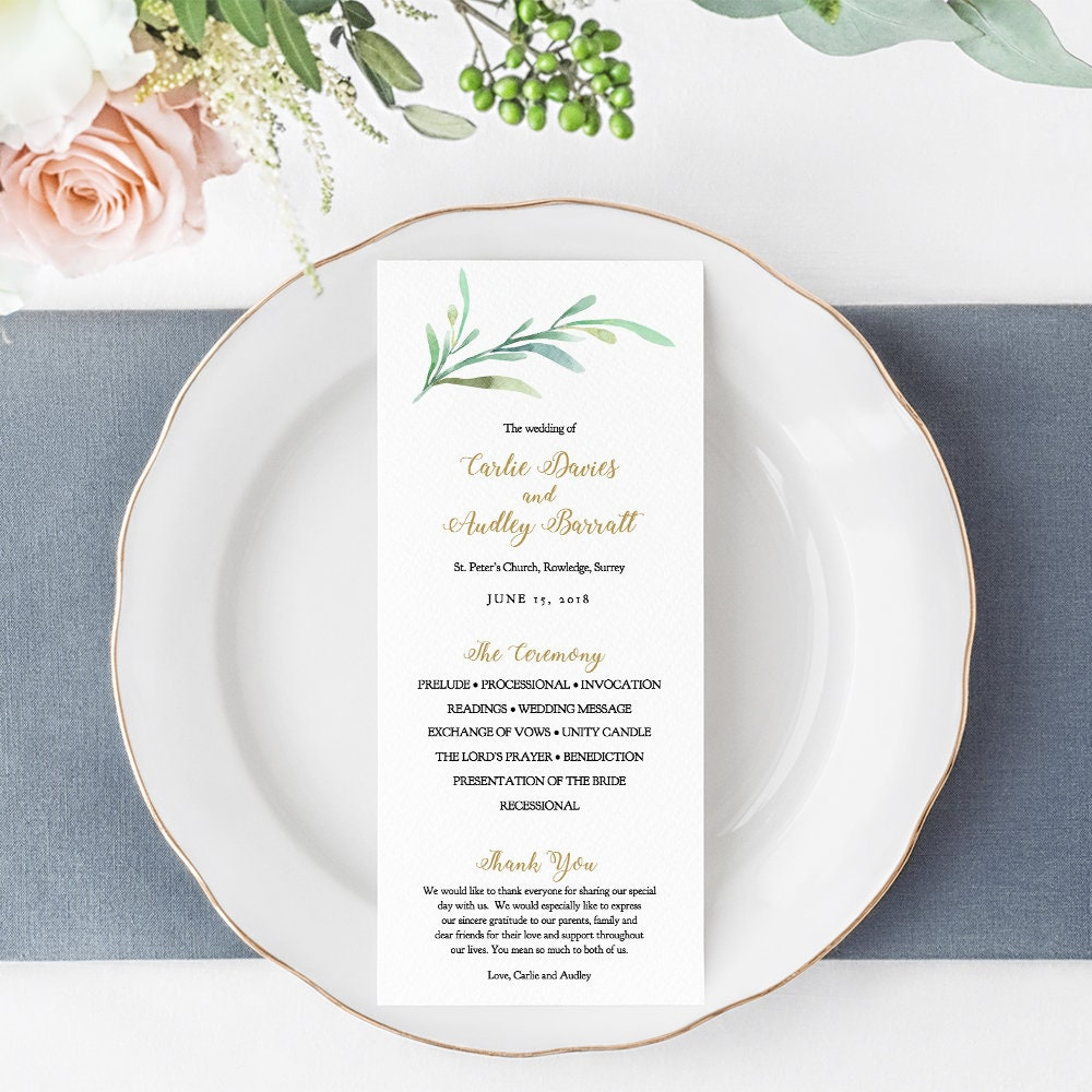 Wedding Programs Template, Greenery Printable Wedding