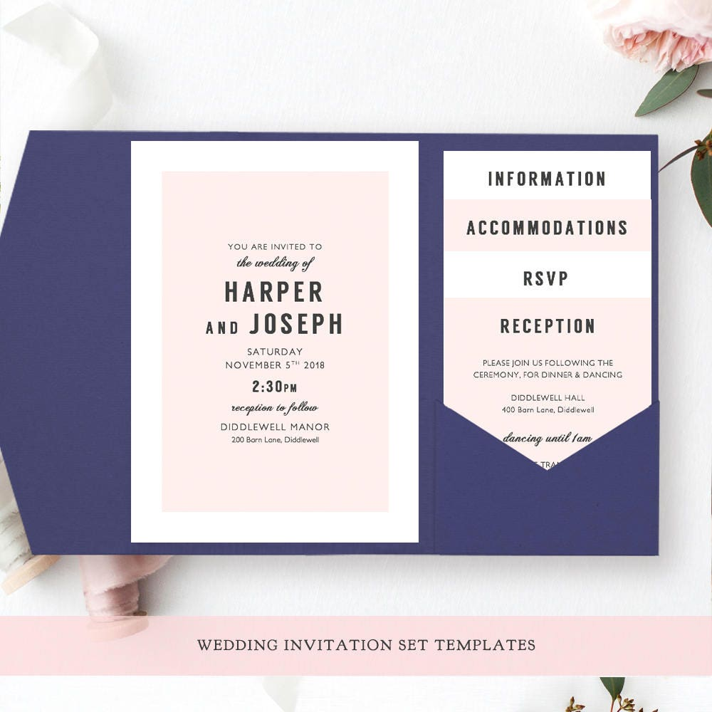 printable modern wedding information card  guest enclosure card  harper  information template