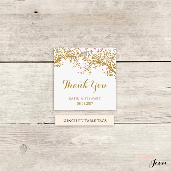 "Thank You Tree Gift Tags 2x2"" Square Tag Template - 2x2 inch, printable tags, Leaves, any colours, Edit in WORD or PAGES"