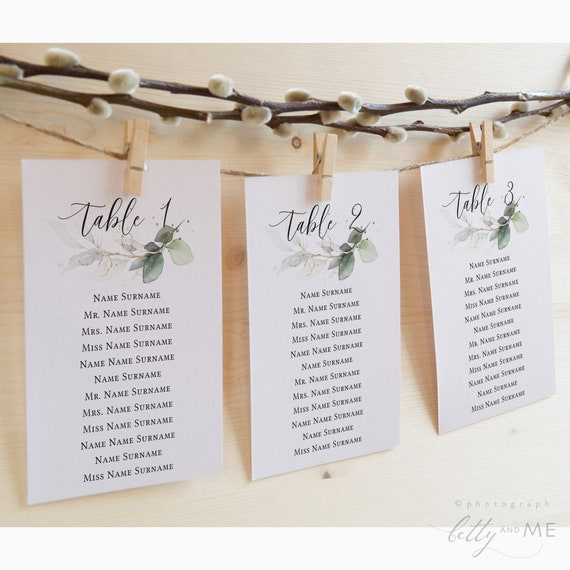 "Leaf & Gold - Greenery Seating Cards, Greenery Hanging Frame Cards, Greenery Wedding, 4x6"", 5x7"", 4x9"", Corjl Templates, FREE Demo"
