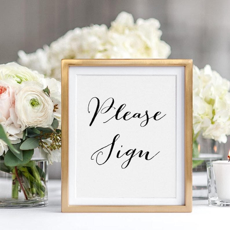 Custom Please Sign printable sign 8x10 Please Sign image 0