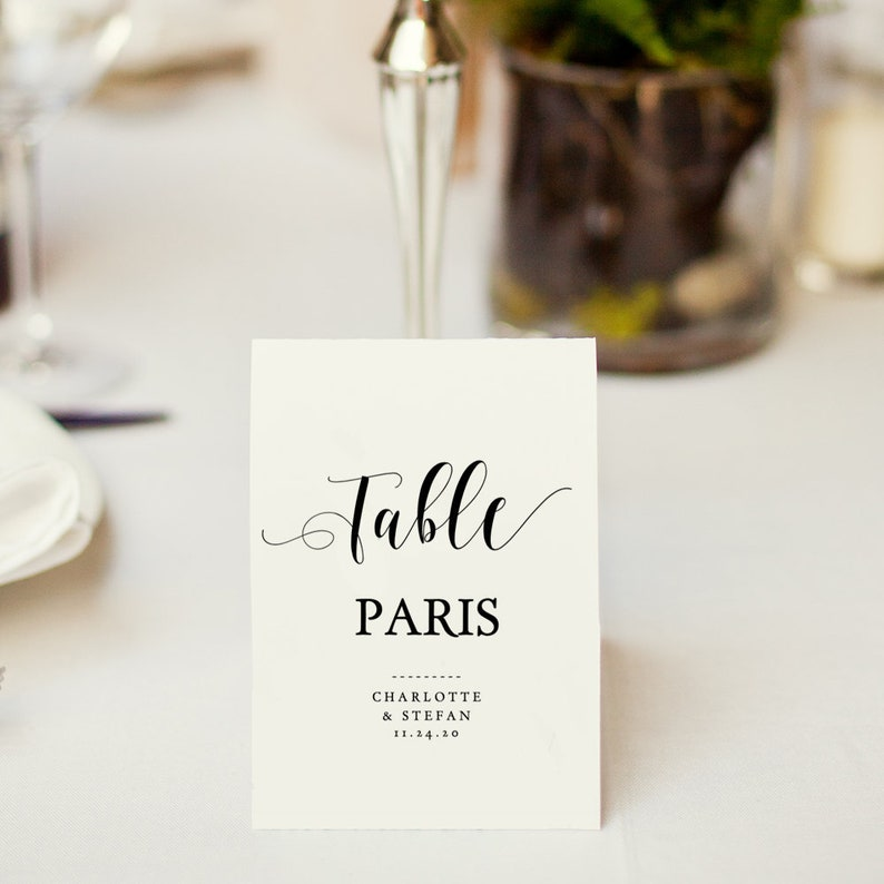 Table Name Cards Template Printable Table Names 4 Per Page Etsy
