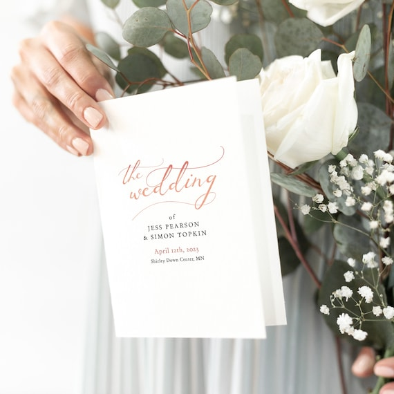 LucyRose - Rose Gold Wedding Program Booklet Order of Service Printable Template, Rose Gold EFFECT, Corjl Template, FREE Demo