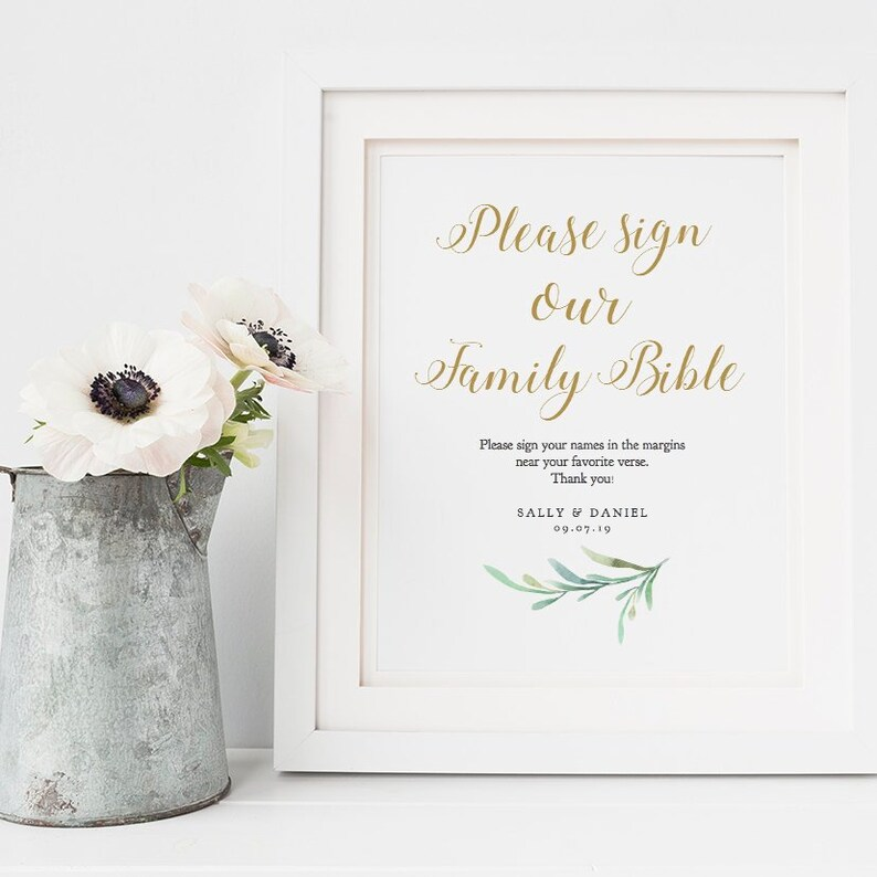 Please sign our family bible printable guest book sign image 0