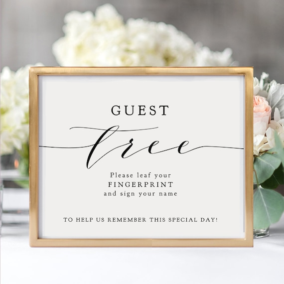 "Guest Tree Fingerprint Sign, Wedding Thumbprint Guest Book Printable Sign, 8x10"", 16x20"" wedding signage ""Wedding"" Download & Print"
