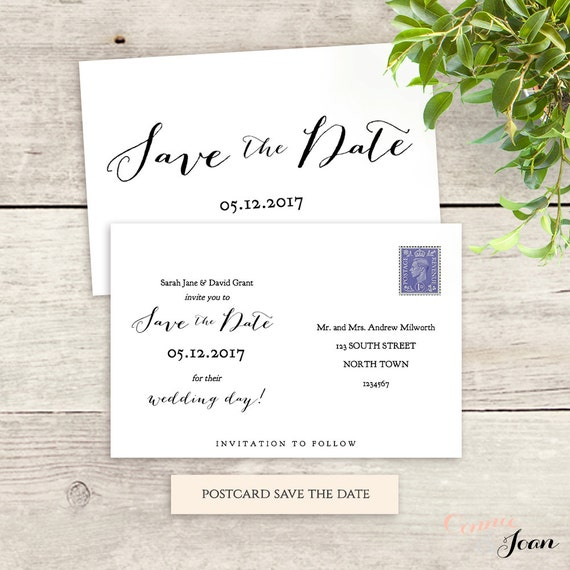 Postcard Save The Date Template 6x4 Printable Save The Date 5x7 And 5x3 5 Templates Sweet Bomb 3 Styles Included Edit In Word Or Pages