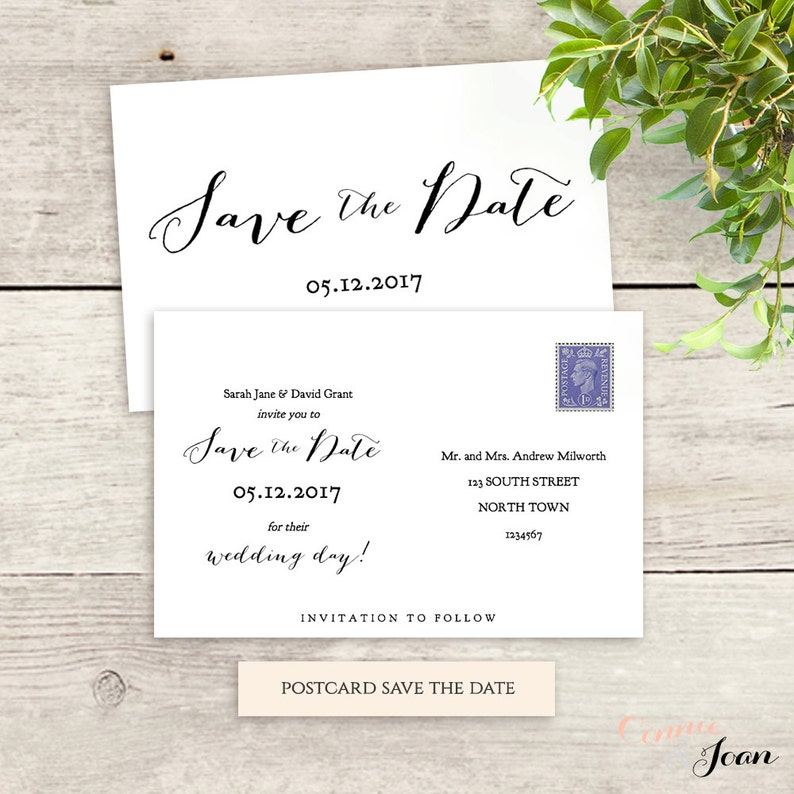 Postcard Save the Date template, 6x4, printable Save the Date 5x7 and 5x3 5  templates