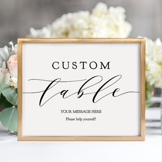 "Custom Table Sign Printable Custom Wedding Table Sign 8x10"" e.g. Donut Table Memory Table, portrait + landscape ""Wedding"" Editable PDF"
