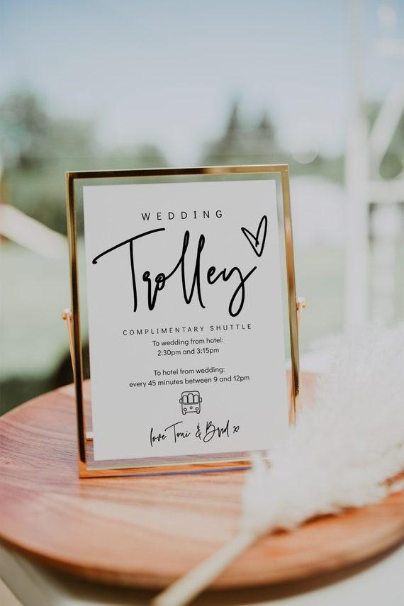 "Wedding Trolley Shuttle Signs, 5x7"" 8x10"", Printable Wedding Shuttle Signs, Wedding to Hotel Transport Signs, Corjl Template, FREE Demo | 88"