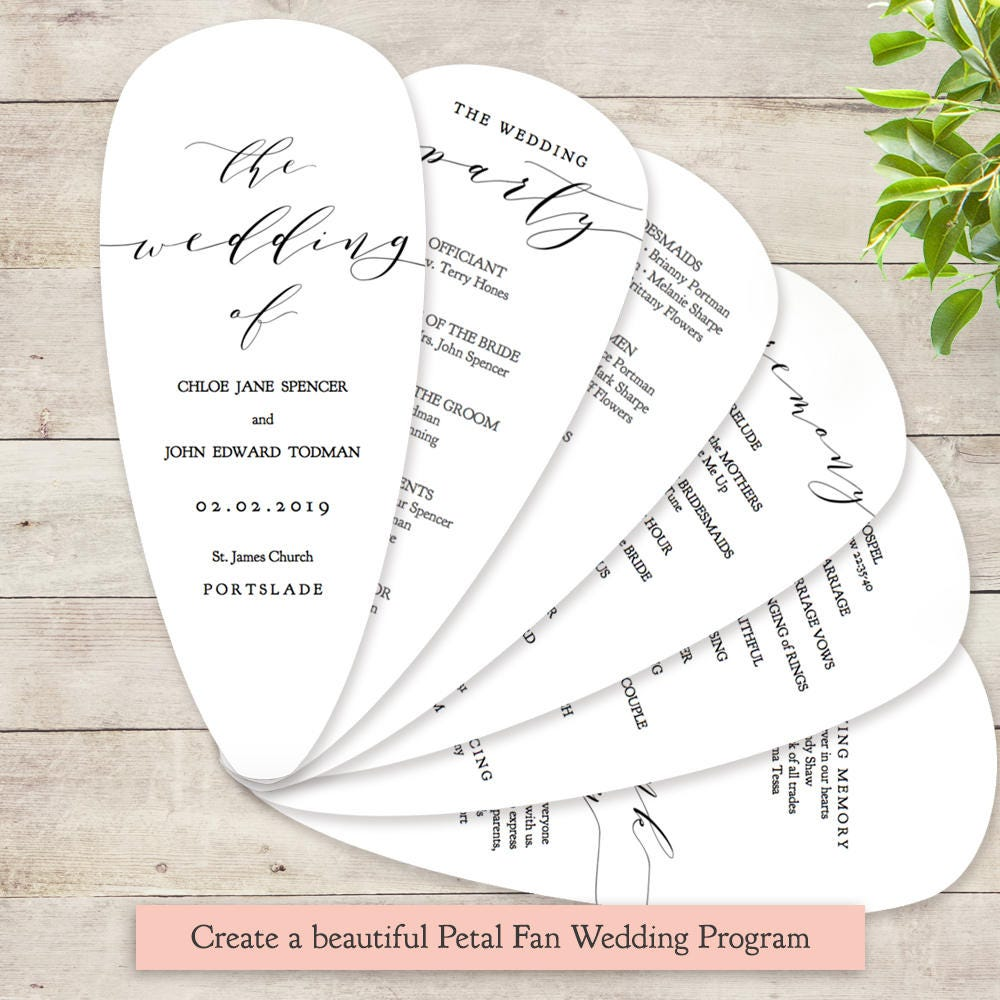 Petal Fan Wedding Program Printable Template DIY With Petals Edit In WORD Or PAGES
