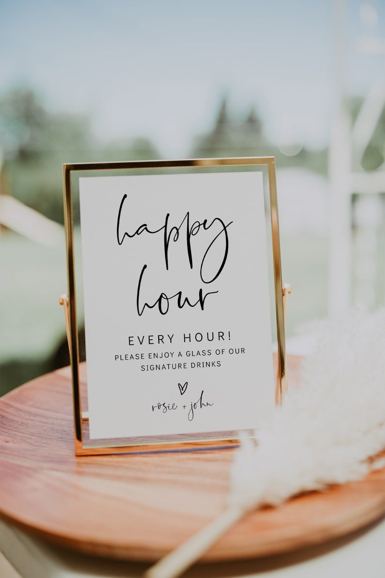 Happy Hour Printable Sign Wedding Bar Sign In 3 Sizes image 0