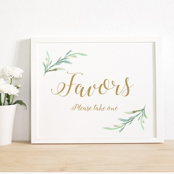 "Favors Sign Wedding Favour Sign Please take one, Printable Favor sign Printable Wedding Signage, 8x10"" and 5x7"" Download and Print - PDF"