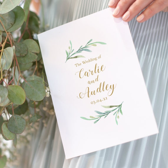Greenery Booklet Wedding Program Template, Order of Service Booklet | Printable Wedding Program Template DIY Wedding, Corjl, FREE Demo