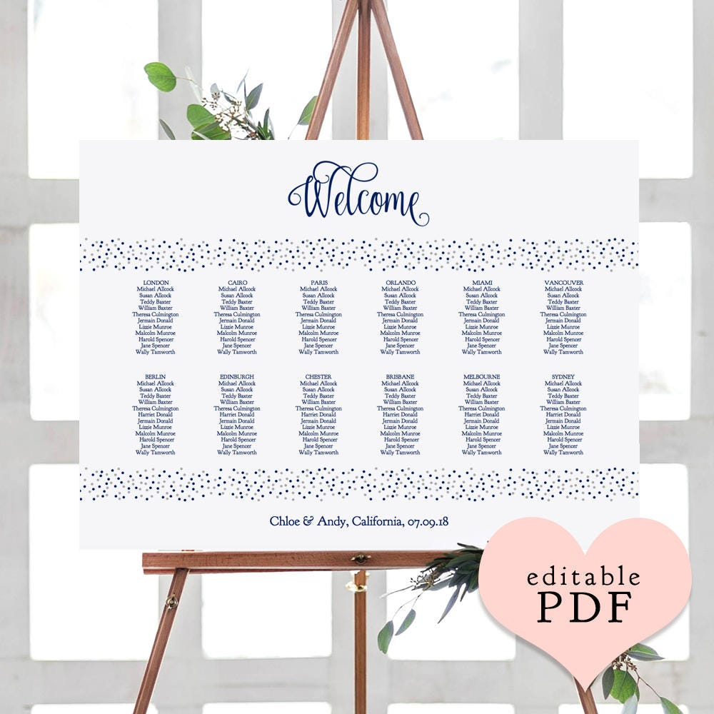 Wedding Flat & Folded Place Card Printable Template ...