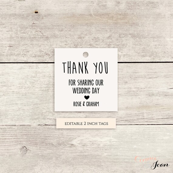 "Printable Favor Tags 2x2"" Thank You Tags Template - Instant Download, Any colours 'Chalky' Edit in WORD or PAGES"