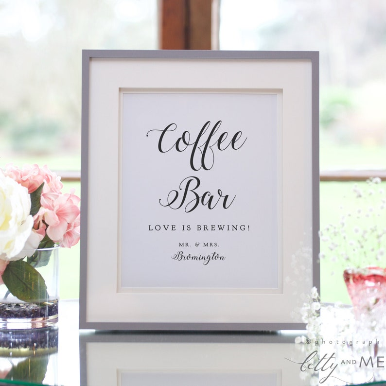 Coffee Bar Sign Printable Love is Brewing Wedding sign image 0