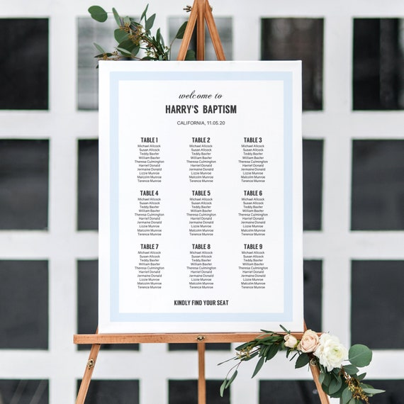 Seating Plan in Light Blue, Printable Table Plan for Birthdays, Baptism Christening, Anniversary, Surprise Party, 6 sizes Editable PDF