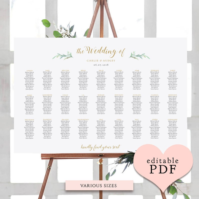 Greenery wedding seating chart table plan templates  10 sizes image 0