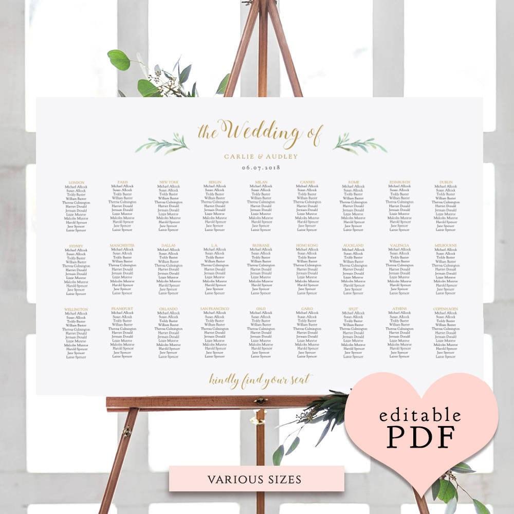 Greenery Wedding Seating Chart Table Plan Templates