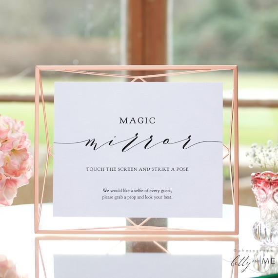 "Magic Mirror Sign, Selfie Sign, Strike a Pose, Printable Templates in 8x10"" & 5x7"", DIY wedding signage, ""Wedding"" Corjl Template, FREE Demo"