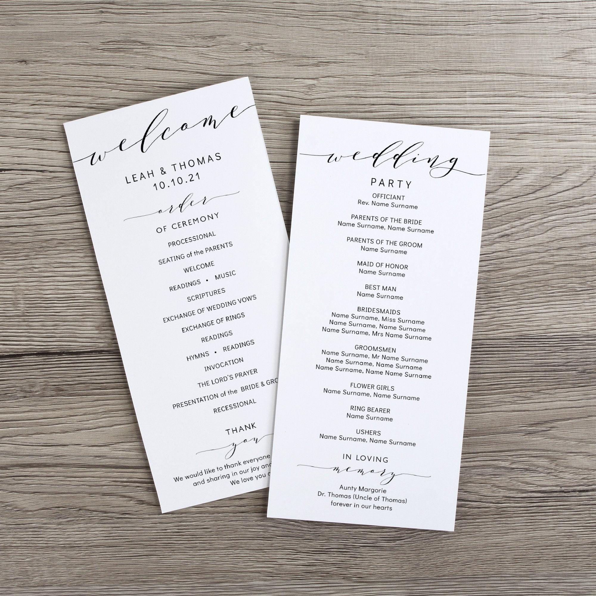 Wedding Ceremony Program Template Free from i.etsystatic.com