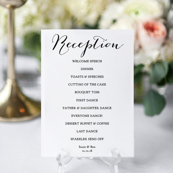 Reception Program Printable Diy Wedding Reception Card In 6 Sizes Sweet Bomb Edit In Word Or Pages