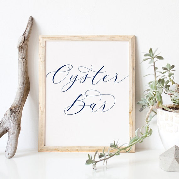 """Navy Oyster Bar Sign Printable 8x10"""" Oyster Bar Wedding Sign """"Beautiful"""" Download and Print."""