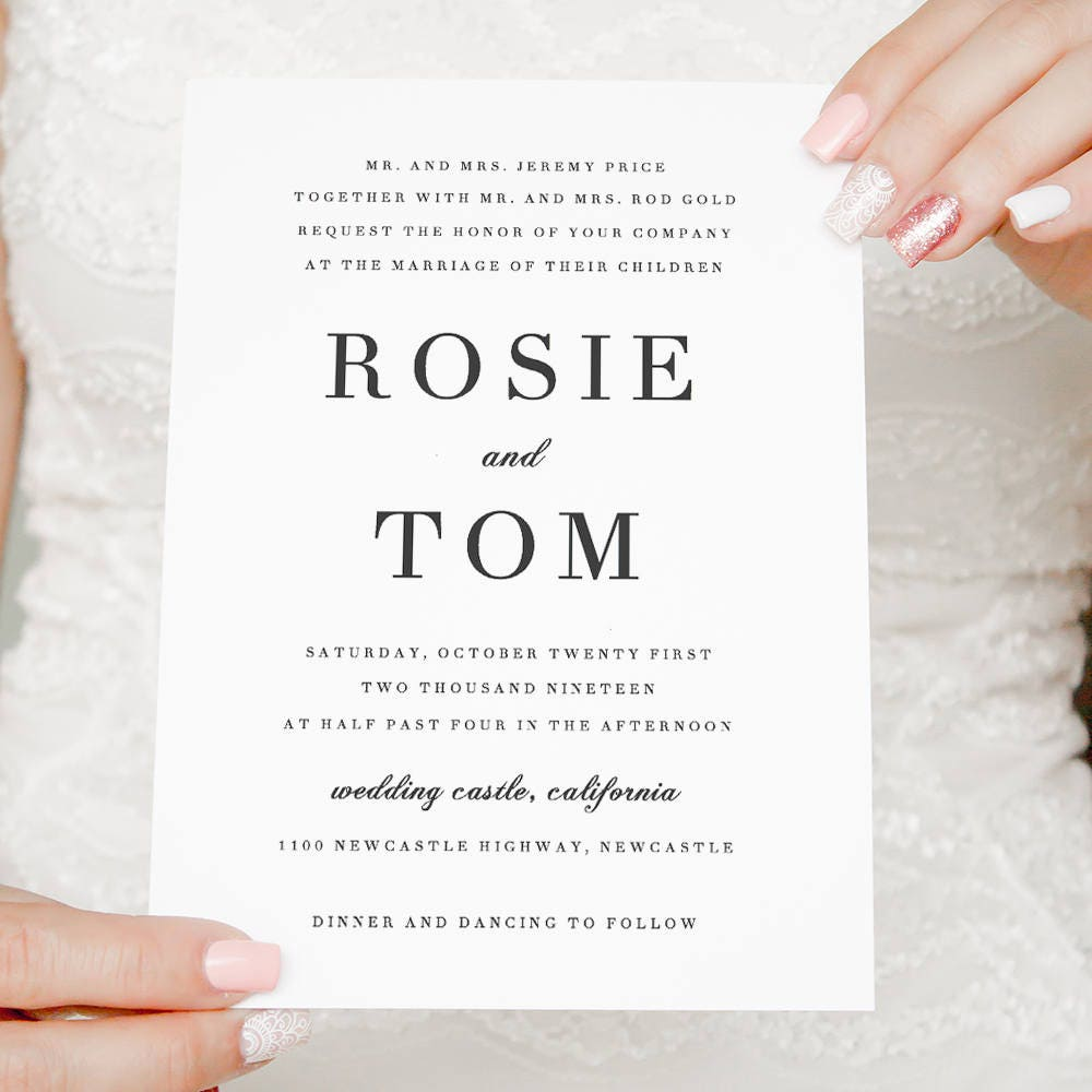 Elegant Wedding invitation simple and classic wedding invitations