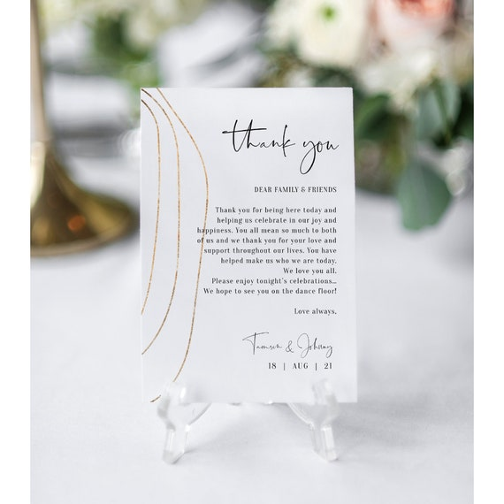 "Abstract - Gold Thank You Note, Printable Wedding Thank You Card, Download 4x6"" & 5x7"", Corjl Templates, FREE Demo"