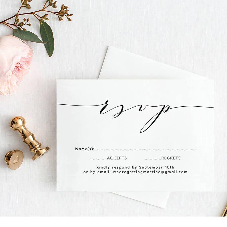 Wedding RSVP Template Printable Wedding rsvp image 0