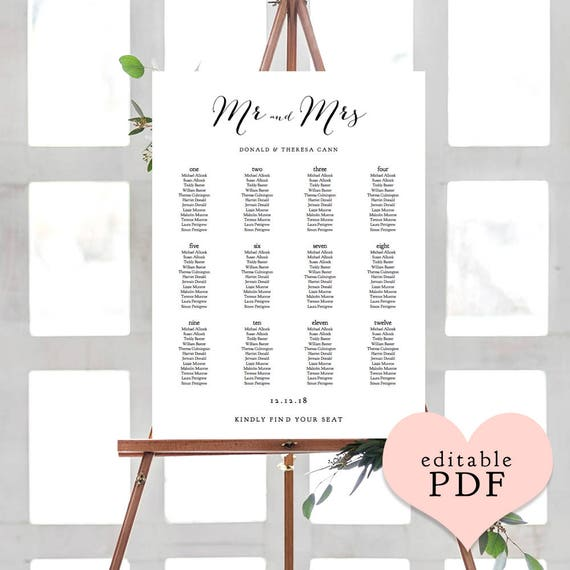 wedding seating charts printable alphabetical or table names etsy