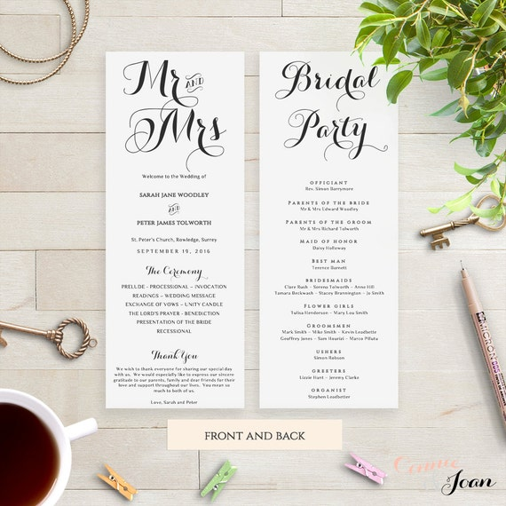 Printable Order of Service Wedding Program. Byron. Edit, print, trim | DIY Editable printable template | Edit in WORD or PAGES