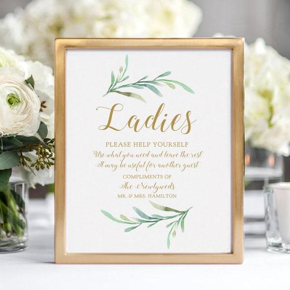 "Bathroom Basket Sign, Printable Wedding Basket Sign Ladies and Gentlemen Signs ""Greenery"" 5x7"" & 8x10"" Corjl or Download and Print"