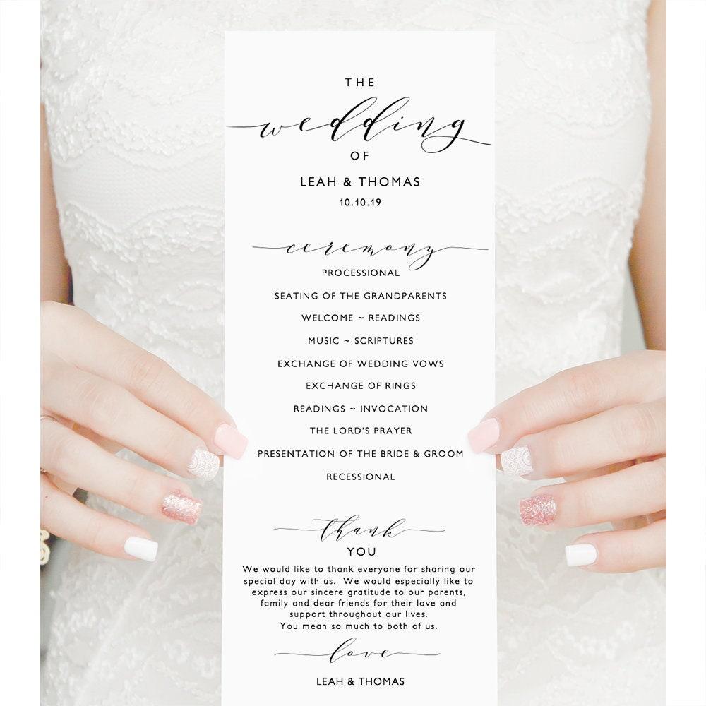 long wedding program template diy printable program order of