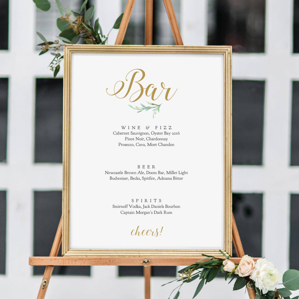 Open Bar Wedding Reception Sign Party Printables 8 x 10 INSTANT DOWNLOAD