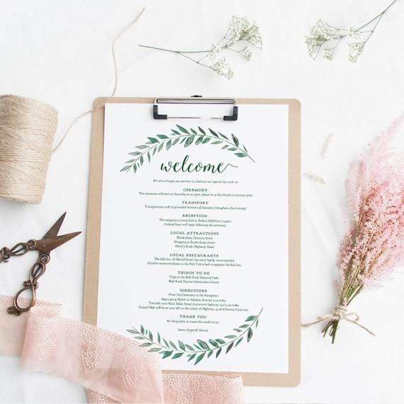 Grüne Willkommen Reiseroute Hochzeit Gast Brief Vorlage Etsy